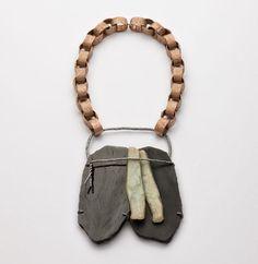 IRIS BODEMER – Neckpiece 2012  Bronze, silver, black jade, Andean opal, mounting adhesive