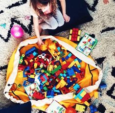SWOOP Bags are ideal for LEGO storage and other small toys. Cleanup made simple Made in Seattle. Toy Storage Bags, Lego Storage, Storage Ideas, Lego Bag, Modern Toys, Things To Do At Home, Playroom Storage, Lego Building, Legos