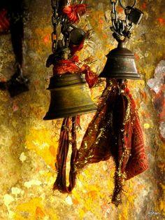 Varanasi Shiva temple bells (photo by Rohn Rao) Temple Bells, India Culture, Varanasi, Indian Art, The Incredibles, Fine Art, Beautiful, Chandigarh, Burgundy