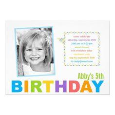 Bright and Colorful Photo Birthday Invitation