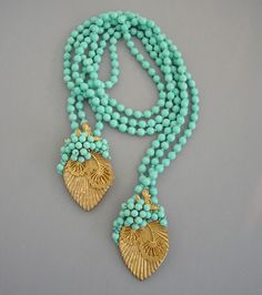 Haskell aqua glass beads, gold leaves lariat necklace from MorningGloryJewelry.com : Buy online now for $995.00  A Frank Hess design for Miriam Haskell, this is unsigned as was typical for this era circa 1940