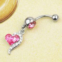 316L Acero Quirúrgico Piercing Ombligo Cristal con Corazón Rosa Joyería de Moda