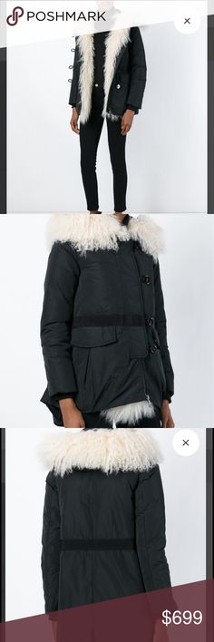 Moncler Mongolian lamb fur jacket 1 Authentic. Was too big for me. Size 1 Black feather down lamb fur collar padded jacket from Moncler featuring a front zip fastening, an off-centre front button fastening, front flap pockets, long sleeves and a drawstring hem. Imported Moncler Jackets & Coats Puffers