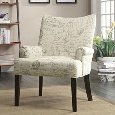 Coaster French Script Accent Chair, White - Walmart.com