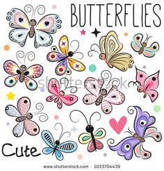 Set of Cute cartoon Butterflies isolated on a white background: compre este vector en Shutterstock y encuentre otras imágenes. Cartoon Butterfly, Butterfly Clip Art, Butterfly Drawing, Cute Butterfly, Butterfly Crafts, Papillon Morpho, Art Papillon, Cartoon Drawings, Easy Drawings