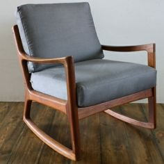 Ole Wanscher 1960s teak rocking chair made by France and Son Denmark with grey upholstered cushions