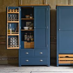 Westcote Blue Large Double Larder Cotswald Co. – Westcote Blue Double Larder (space saving door shelves) - Own Kitchen Pantry Pantry Cabinet Free Standing, Pantry Cupboard, Kitchen Pantry Cabinets, Cupboard Design, Pantry Design, Kitchen Storage, Kitchen Decor, Freestanding Pantry Cabinet, Stand Alone Pantry