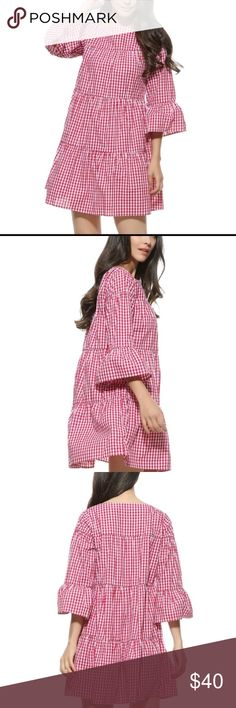 [Vadim] Red Gingham Dress with Flared Sleeves Brand new. Checkered pattern; loose fit; Dresses Mini
