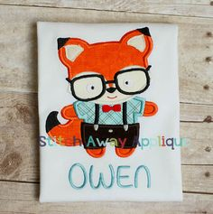 Infant Baby Toddler Nerdy Fox Applique Custom by SewByOhana, $23.00