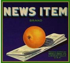 Lindsay, Tulare County News Item Orange Citrus Fruit Crate Label Advertising Art Print