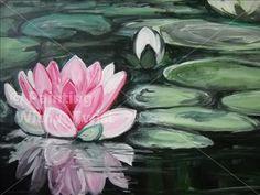 Pink Lotus Flower - Fort Lauderdale Painting Class - Painting with a Twist - Painting with a Twist