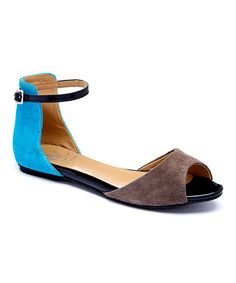 Take a look at this Mocha & Turquoise Ellen Suede Ankle-Strap Sandal on zulily today!