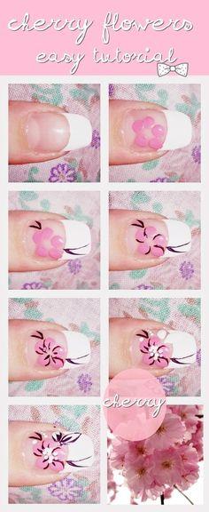 cherry blossom nail art tutorial @kloweryrobinson