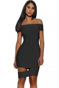 Black Off Shoulder Bardot Cut-Out Mini Dress 485c489e2