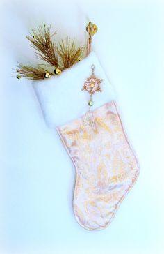 Elegant Pink & Gold Christmas Stocking.  by DesignItAgainCrafts, $32.00