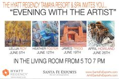 This June 2015, we have four new artists showing their work on Friday evenings at the Hyatt Regency Tamaya Resort & Spa.  Come join us - All are welcome! Special thank you to Santa Fe Exports for helping us with these events.