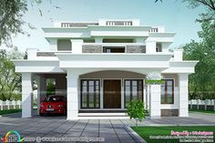 2813 sq-ft flat roof, box type home House Porch Design, Home Design, 2 Storey House Design, Classic House Design, Front Porch Design, Two Storey House, Bungalow House Design, House With Porch, Small House Design