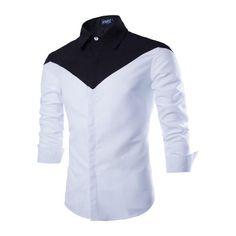 Black White Patchwork Italian Dress Shirts Long Sleeves Lapels Cotton Blends Mens Clothing Formal Shirt Camisas De Vestir Hombre
