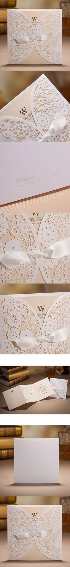 Wishmade 50x Laser Cut Trifold Lace Sleeve Wedding Invitations Cards Kits for Wedding Engagement Bridal Shower Baby Shower Birthday Quinceanera Graduation Paper with Bow(set of 50pcs)