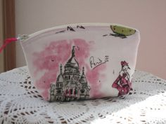 Paris Purse Cosmetic Bag Zipper Clutch Tres by Antiquebasketlady, $13.00