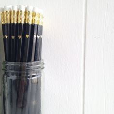 Black Pencils with Gold Foil