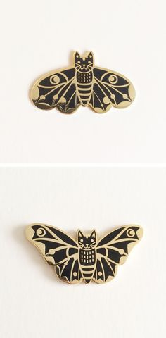 Moth Cat Enamel Pins