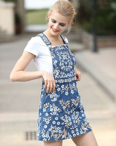 #VIPme Blue Embroidery Denim Overall Skirt With T-Shirt ❤️ Get more outfit ideas and style inspiration from fashion designers at VIPme.com.