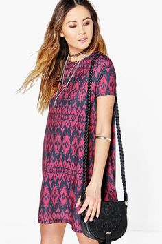 Maisie Aztec Short Sleeve Swing Dress