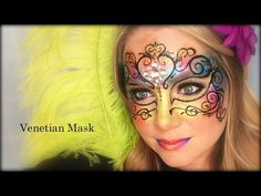 Venetian Mask Face Painting and Makeup Face Painting Tutorials, Face Painting Designs, Adult Face Painting, Body Painting, Mask Painting, Tinta Facial, Mask Face Paint, Fantasy Make Up, Mask Makeup