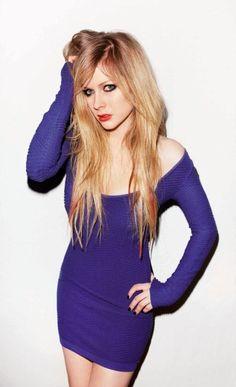Avril Lavigne - blue dress, long hair, red lips