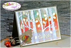Stampin' Up! Woodlands Embossing Folder water coloured by Sandi @ www.stampinwithsandi.ca