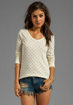 Free People Printed Thermal in Vanilla Combo
