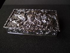 Early 20thc Spanish solid silver table snuff box; hunting scene- dogs& wild boar