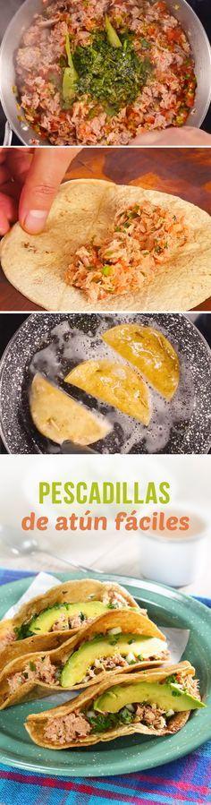 Quesadillas fritas rellenas de atún para #cuaresma. Estas pescadillas mexicanas con atún de lata son sencillas y deliciosas. Acompáñalas de mayonesa, salsa picante y limón.