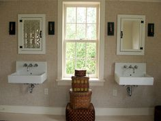 Duravit Wall Hung Sinks With Antique Splint Baskets Bare Root Design Studio Modern Baths