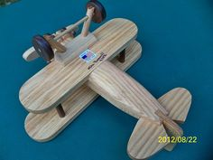 Wooden Handmade toys Large Airplane Biplane Red Oak by mikebtoys