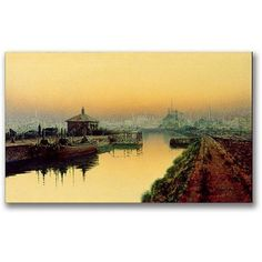 Trademark Fine Art Knostrop Cut, Leeds, Sunday Night Canvas Wall Art by John Atkinson Grimshaw, Size: 20 x 47, Multicolor