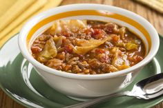 You're going to want to pick the coziest spot in the house to enjoy this Cabbage Roll Soup. That's 'cause this beefy and low-fat cabbage soup delivers so much comfort and heartiness, it deserves to be eaten in a comfy-cozy setting.