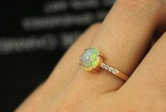 1 Carat Opal Engagement Ring Diamonds 14K Rose by SteveleeJewelry, $550.00