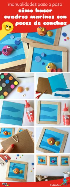 tutorial para hacer un bonito cuadro marino para decorar habitaciones infantiles  #tutorial #manualidades