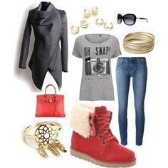 City Adventures! by officialbearpaw on Polyvore featuring ONLY, J Brand, Hermès, Steve Madden, Jeweliq, Chanel and Bearpaw