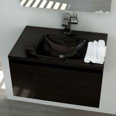 """Meuble en MDF «panneau de fibres de bois de densité moyenne» 18 mm laqué """"Noir"""" et plan vasque en verre 15 mm sans trop-plein. Tiroir avec système de fermeture amortie Blum."""