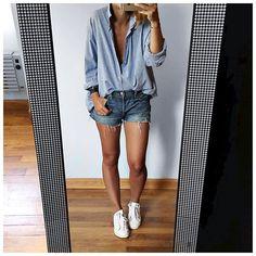 Sandales/Baskets/Converse/Birk ... Ou la valse des chaussures de vacances! • Shirt #leonandharper (last collection @leonandharper) • Short #levis (on @levis) • Bracelet #hermeskelly (on @brandconnectionparis) • Sneakers #stansmith (on @adidasoriginals) ... Levis Short, Short Shorts, Short En Jean Femme, Stan Smith Outfit, Passion For Fashion, Love Fashion, Womens Fashion, Casual Outfits, Cute Outfits