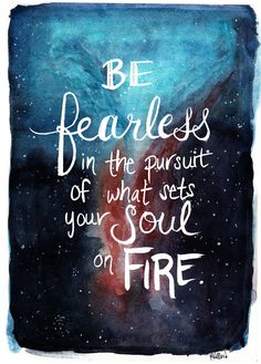 Be Fearless Hand-lettered Quote Nebula Watercolor Painting ART PRINT 8x10