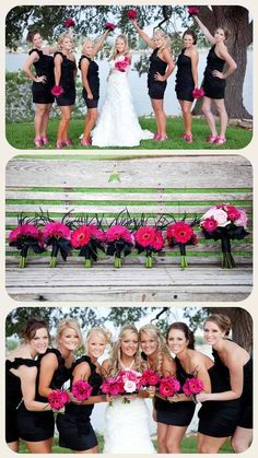 hot pink and black wedding theme....love this, exactly what i want!                                                                                                                                                                                 More