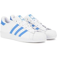 Adidas Originals Superstar Leather Sneakers ($110) ❤ liked on Polyvore featuring shoes, sneakers, adidas, shoes - sneakers, white, genuine leather shoes, white trainers, leather trainers, real leather shoes and leather footwear