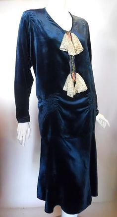"""Dress: ca. 1920's, velvet, trimmed with beads and rhinestones and lace """"bows."""""""
