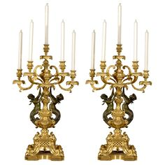 Magnificent pair of candelabra | From a unique collection of antique and modern candle holders at https://www.1stdibs.com/furniture/decorative-objects/candle-holders/