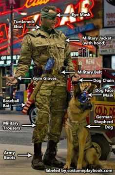 costume guide for colonel stars and stripes of Kick Ass 2, with his dog, eisenhower