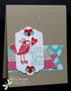 Love these bright colors! Real red costal cabana, crumb cake, fresh prints DSP stack, silver glimmer scallop tag topper punch Love You More stamp set